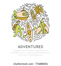 Travel outdoor adventure hand draw icon concept. Sketched icons about travelling, kayaking, hikking and tropical beach in round form with decorative elements. Traveling icon set about adventure and