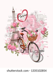 Travel Paris poster with Eiffel Tower and bicycle,Typography, t-shirt design.
