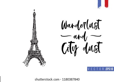 Travel Paris promo flyer. Greeting card with Eiffel tower and text: wanderlust and city dust. Postcard with french landmarks and sights. Travel concept postcard design for tourists in Paris, France.