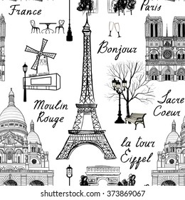 Travel Paris seamless pattern. Vacation in Europe wallpaper. Travel to visit famous places of France background. Landmark tiled grunge pattern.
