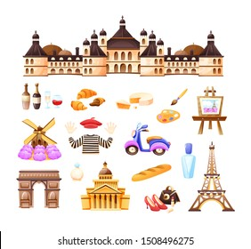 Travel to Paris, sights of France. Paris tourist landmarks, historic buildings, architectural structures, French perfumes, wine, art, food, hobbies. Trip, vacation vector cartoon illustration isolated