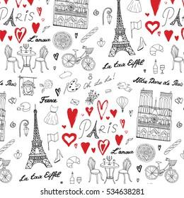 Travel Paris vector line pattern
