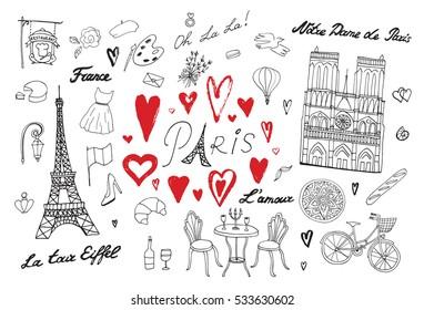 Travel Paris vector line set