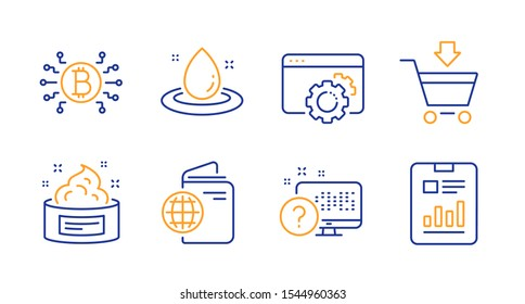 Travel passport, Skin cream and Fuel energy line icons set. Seo gear, Online market and Online quiz signs. Bitcoin system, Report document symbols. Trip document, Medical cosmetic. Vector