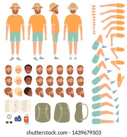 Travel people constructor. Body parts of happy travellers with various clothes tourist vector creation kit. Illustration of tourist character body, collection leg and hand traveler position