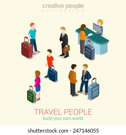Travel people flat 3d web isometric infographic concept vector set. Men, women and couples with luggage bags, passport security control, ticket service. Build your own world creative people collection
