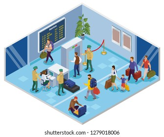 Travel people isometric background with passenger in airport terminal passing registration and preflight inspection vector illustration