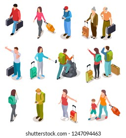 Travel people isometric set. Men, women and kids with luggage. Tourist family, passengers and baggage. Tourism vector collection