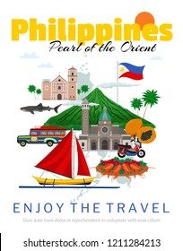 Travel to philippines poster with national flag and landmarks historical buildings traditional food and transportation vector illustration