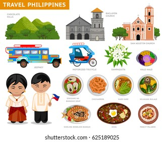 Travel to Philippines. Set of traditional cultural symbols, cuisine, architecture. A collection of colorful illustrations for the guidebook. Filipinos in national dress. Attractions. Vector.