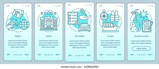 Travel planner turquoise onboarding mobile app page screen vector template. Cruise, journey, traveling. Walkthrough website steps with linear illustrations. UX, UI, GUI smartphone interface concept