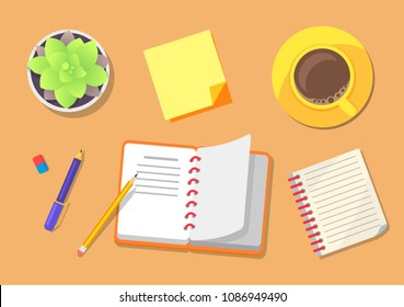 Travel planning icons set with notebook, pencil and pen to write down ideas, cup containing beverage, plant in pot, isolated on vector illustration