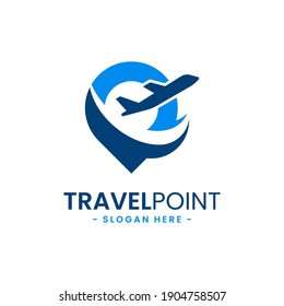 Travel point logo design template. Pin icon with airplane combination. Concept of holiday, tourism, trip, exploration, etc.
