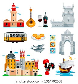 Travel to Portugal icons and isolated design elements set. Vector Portuguese and Lisbon culture symbols, food and landmarks.