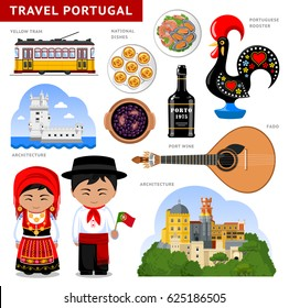 Travel to Portugal. Set of traditional cultural symbols, cuisine, architecture. A collection of colorful illustrations for the guidebook. Portugueses in national dress. Attractions. Vector.