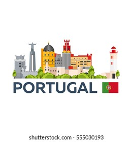 Travel to Portugal skyline. Vector flat illustration