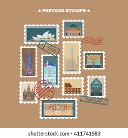 Travel Postage Stamps. Famous Buildings. Vector illustration