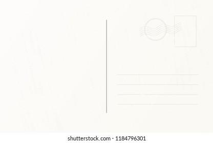 Travel postcard design template. Retro travel post card back template
