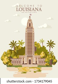 Travel postcard from Louisiana. Vector illustration with the famous and historic art deco state capitol building  in Baton Rouge, la. The pelican state