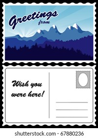 "Travel Postcard, Mountain Landscape, snow, hills, pine trees. Full size, 8.5"" x 5.5"", front & back. Copy space to add location, greetings, address. EPS8 compatible."