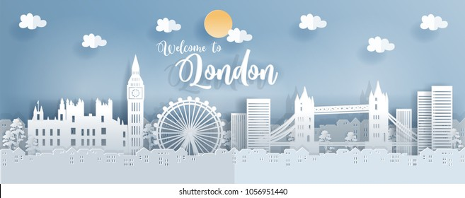 Travel postcard and poster with London, England famous landmarks, paper cut style vector illustration