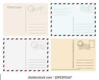 Travel postcard templates. Greetings post cards backside vector set. Postal empty blank for mail illustration