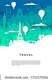 Travel poster, banner template, vector illustration in paper art style. Hot air balloons flying over world famous landmark silhouettes. International tourism, time to travel concept.