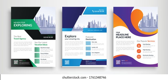 Travel poster flyer pamphlet brochure cover design layout space for photo background, vector illustration template in A4 size
