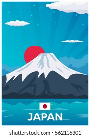 Travel poster to Japan. Vector flat illustration