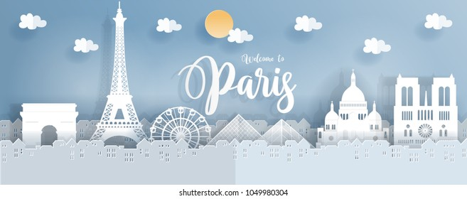 Travel poster with Paris, France famous landmarks in paper cut style. Vector illustration.