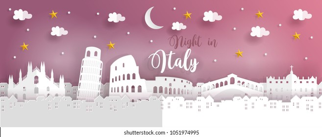 Travel poster or postcard with symbol of Italy with world famous landmarks, paper cut style vector illustration.