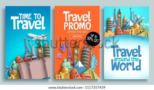 Travel poster set vector template design with promo text and world's famous landmarks and tourist destinations elements in colorful background. Vector illustration.