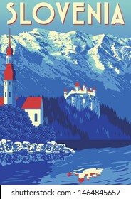 Travel Poster of Slovenia. Handmade drawing vector illustration. Retro style. Flat Design.