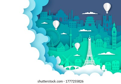 Travel poster template, vector illustration in paper art style. Hot air balloons flying over world famous landmarks silhouettes, copy space. Layered paper cut travel composition for web banner, page.