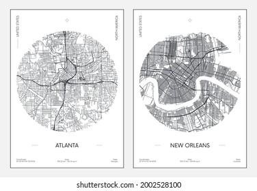 Travel poster, urban street plan city map Atlanta and New Orleans, vector illustration