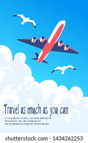 Travel poster vector template design with promo text and passenger airplane during flight in colorful. Vector illustration. World trip vacation background.