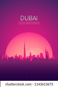 Travel poster vectors illustrations, Futuristic retro skyline Dubai