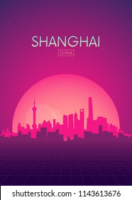 Travel poster vectors illustrations, Futuristic retro skyline Shanghai