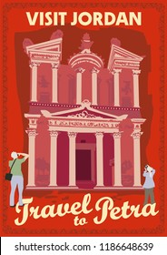Travel poster vectors illustrations with vintage style from Jordan and Petra city