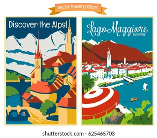 Travel poster vectors illustrations with vintage european holiday destinations 1