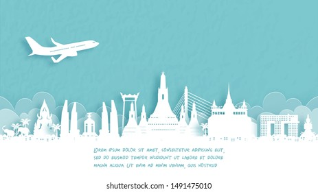 Travel poster with Welcome to Bangkok, Thailand famous landmark in paper cut style vector illustration.