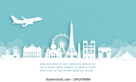 Travel poster with Welcome to Paris, France famous landmark in paper cut style vector illustration.
