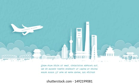 Travel poster with Welcome to Shanghai famous landmark in paper cut style vector illustration.