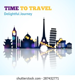 Travel poster with world landmarks silhouettes line and spotlight vector illustration