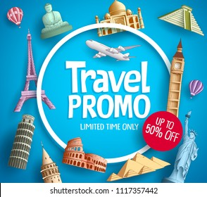 Travel promo vector banner promotion design with tourist destinations elements and discount text in blue background for travel agency template. Vector illustration.