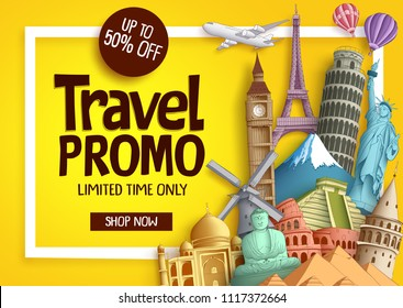 Travel promo vector banner template with discount text and famous tourist landmarks elements in a frame for travel and tour promotion. Vector illustration.