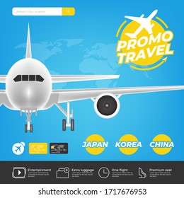 Travel promotion template with mobile phone and website for booking Airplane Tickets Online, Boarding passes, Check departures. The concept of background Banner Promotion. Vector illustration