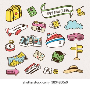 Travel related object in cute cartoon doodle style