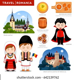 Travel to Romania. Set of traditional cultural symbols, cuisine, architecture, attractions. Collection of colorful vector flat illustrations for the guidebook. Romanians in national clothes.
