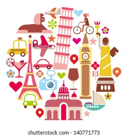 Travel - round vector illustration. Isolated icons on white background. Landmarks.